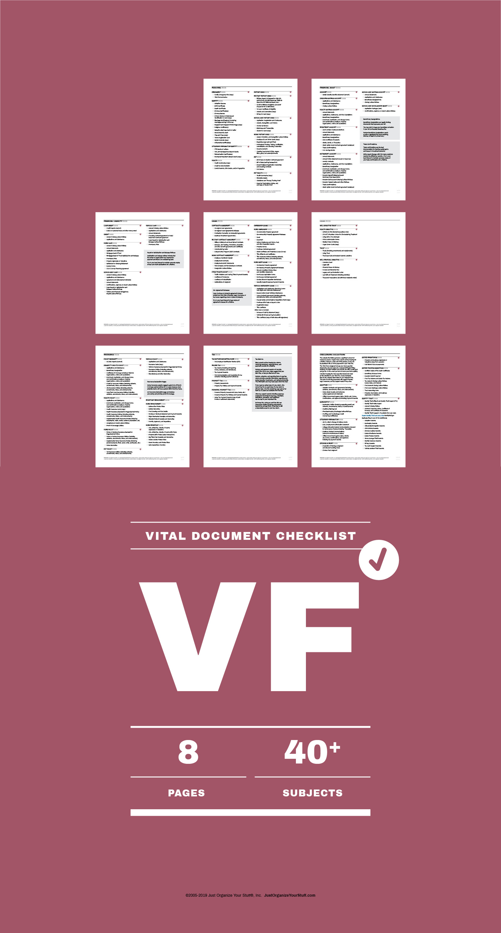 8 Individual thumbnails  of  vital document checklist